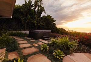 Flagstone Path with Hot Tub and Succulents