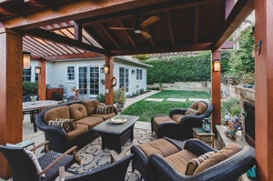Contemporary Wood Pergola and Seating Area