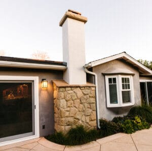 River Rock and Stucco Chimney