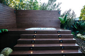 Lighted Hot Tub Trex Decking